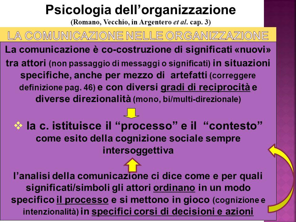 Psicologia della comunicazione organizzativa - M. Mura Psicologia dell'organizzazione (Romano, Vecchio, in Argentero et al. cap. 3) La comunicazione è