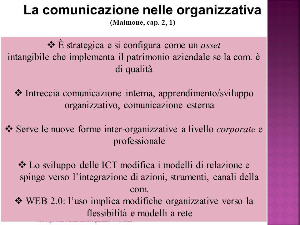 Psicologia della comunicazione organizzativa M. Mura La comunicazione nelle organizzativa (Maimone, cap. 2, 1)  È strategica e si configura come un a