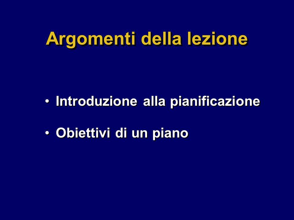Argomenti della lezione Introduzione alla pianificazione Obiettivi di un piano Introduzione alla pianificazione Obiettivi di un piano