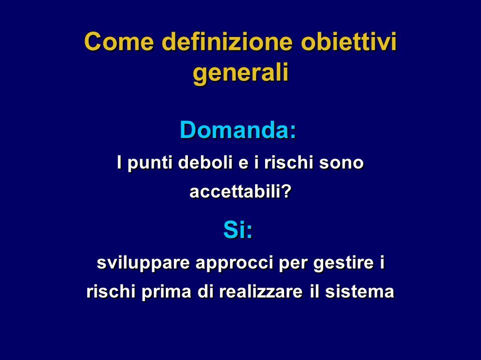 Come definizione obiettivi generali Domanda: I punti deboli e i rischi sono accettabili.