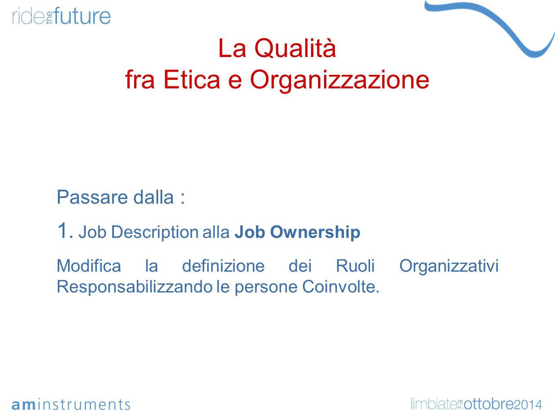 La Qualità fra Etica e Organizzazione Passare dalla : 1.