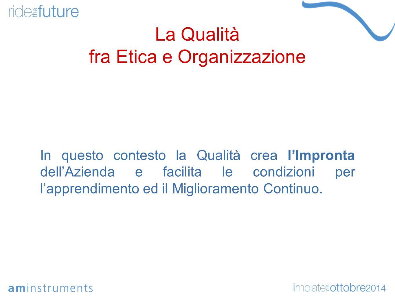 La Qualità fra Etica e Organizzazione In questo contesto la Qualità crea l'Impronta dell'Azienda e facilita le condizioni per l'apprendimento ed il Miglioramento Continuo.
