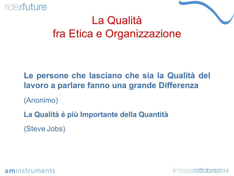 La Qualità fra Etica e Organizzazione Le persone che lasciano che sia la Qualità del lavoro a parlare fanno una grande Differenza (Anonimo) La Qualità è più Importante della Quantità (Steve Jobs)
