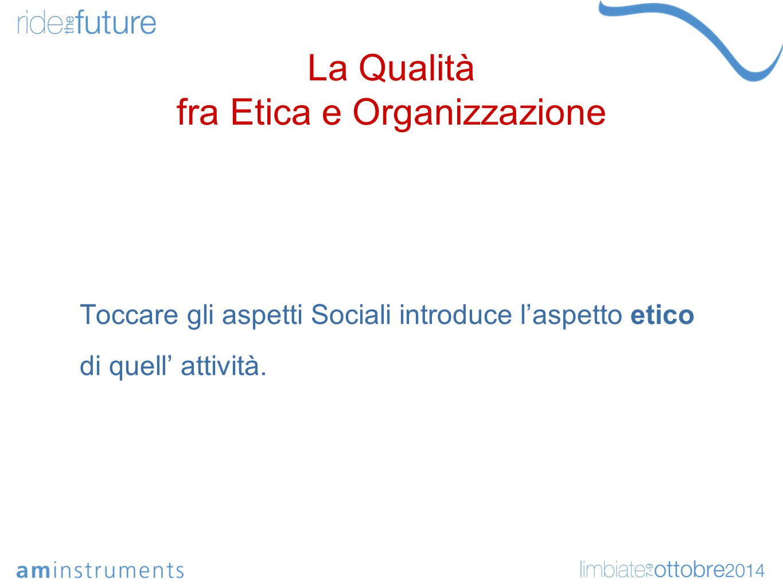 La Qualità fra Etica e Organizzazione Le interazioni etiche e di sicurezza impongono l'intervento del legislatore.