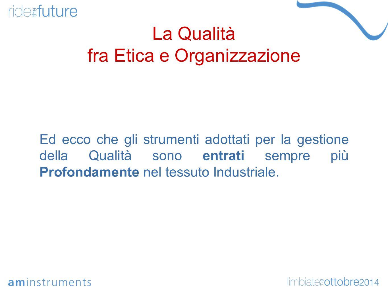 La Qualità fra Etica e Organizzazione Ed ecco che gli strumenti adottati per la gestione della Qualità sono entrati sempre più Profondamente nel tessuto Industriale.