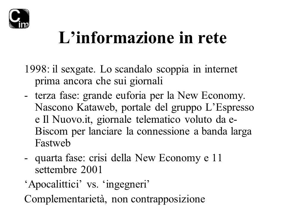 L'informazione in rete 1998: il sexgate. Lo scandalo scoppia in internet prima ancora che sui giornali -terza fase: grande euforia per la New Economy.