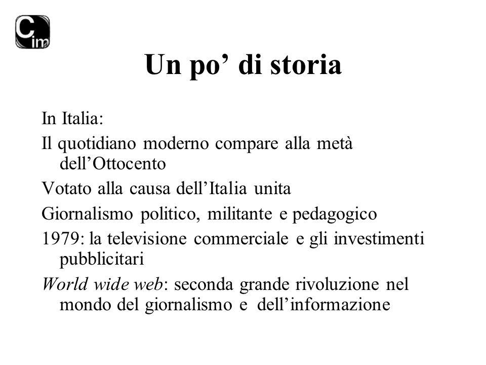 Un po' di storia In Italia: Il quotidiano moderno compare alla metà dell'Ottocento Votato alla causa dell'Italia unita Giornalismo politico, militante