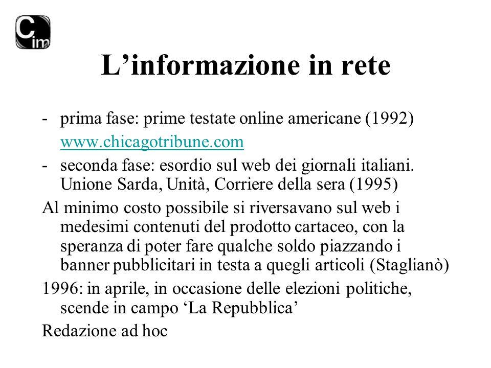 L'informazione in rete -prima fase: prime testate online americane (1992) www.chicagotribune.com -seconda fase: esordio sul web dei giornali italiani.