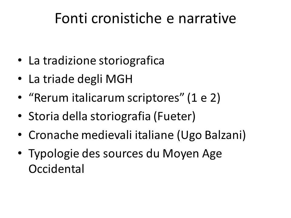"""Fonti cronistiche e narrative La tradizione storiografica La triade degli MGH """"Rerum italicarum scriptores"""" (1 e 2) Storia della storiografia (Fueter)"""