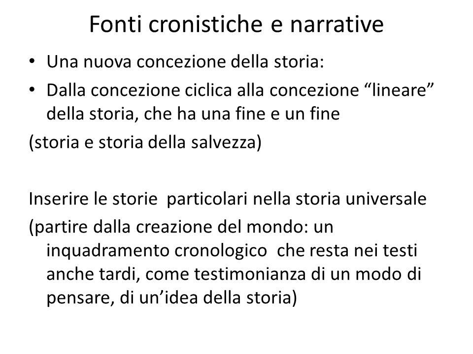 """Fonti cronistiche e narrative Una nuova concezione della storia: Dalla concezione ciclica alla concezione """"lineare"""" della storia, che ha una fine e un"""