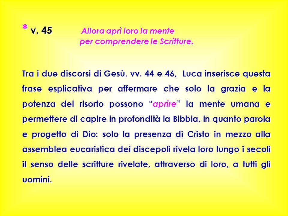 * v. 45 Allora aprì loro la mente per comprendere le Scritture. Tra i due discorsi di Gesù, vv. 44 e 46, Luca inserisce questa frase esplicativa per a