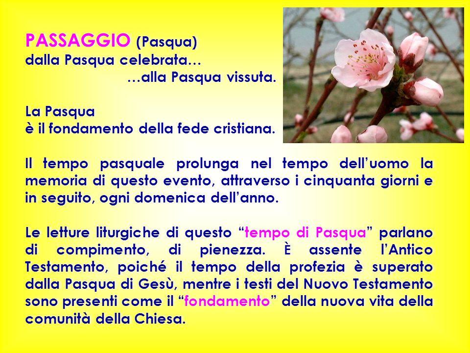 PASSAGGIO (Pasqua) dalla Pasqua celebrata… …alla Pasqua vissuta. La Pasqua è il fondamento della fede cristiana. Il tempo pasquale prolunga nel tempo