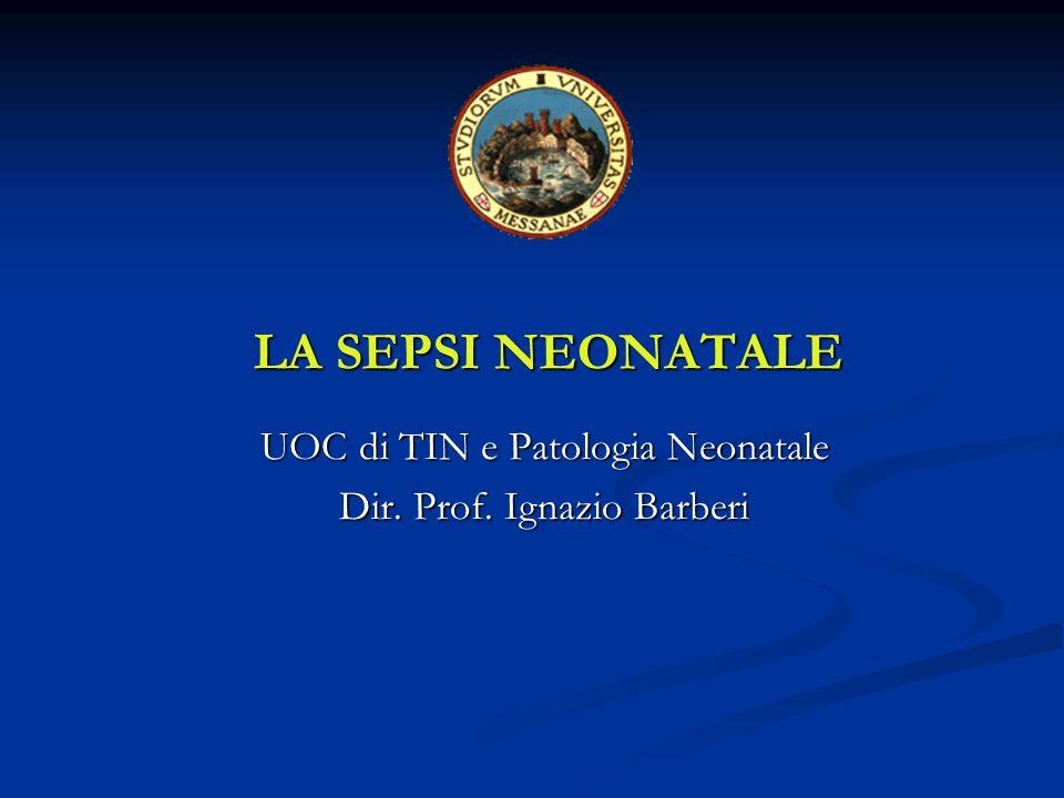 LA SEPSI NEONATALE UOC di TIN e Patologia Neonatale Dir. Prof. Ignazio Barberi