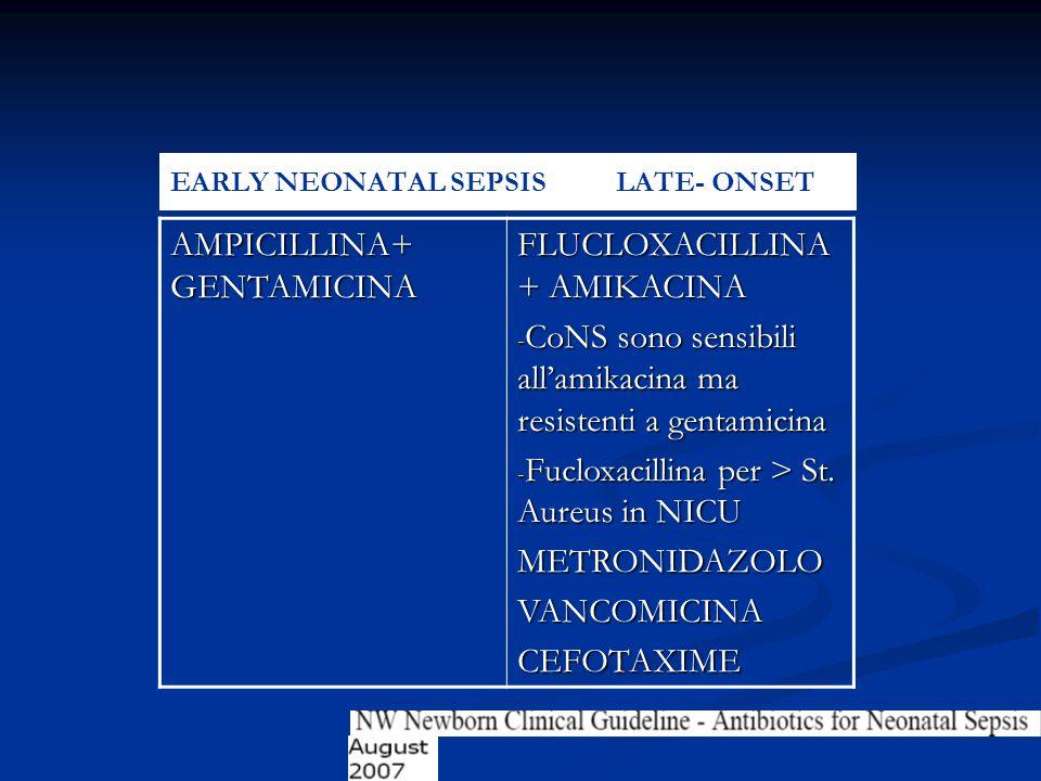 EARLY NEONATAL SEPSIS LATE- ONSET AMPICILLINA+ GENTAMICINA FLUCLOXACILLINA + AMIKACINA - CoNS sono sensibili all'amikacina ma resistenti a gentamicina