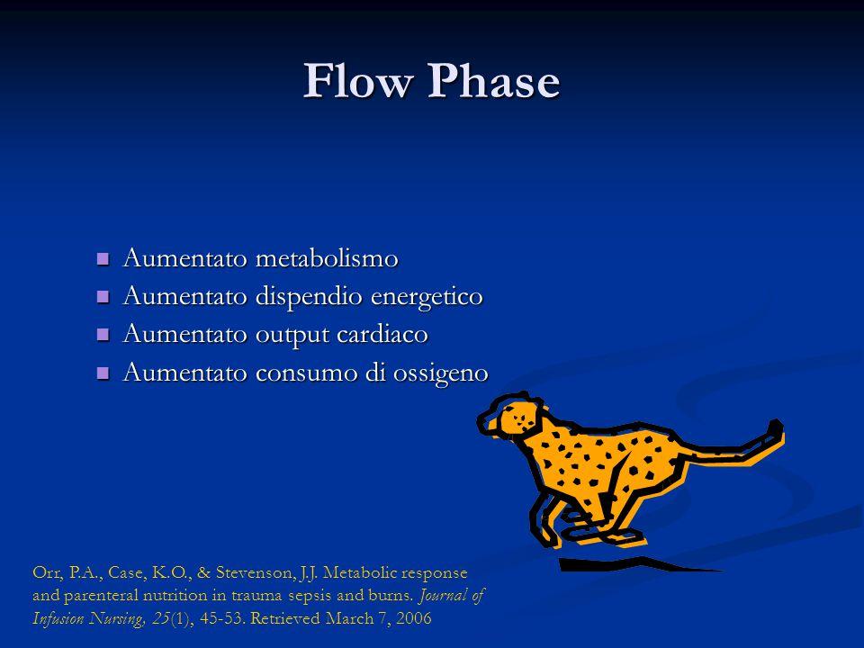 Flow Phase Aumentato metabolismo Aumentato metabolismo Aumentato dispendio energetico Aumentato dispendio energetico Aumentato output cardiaco Aumenta
