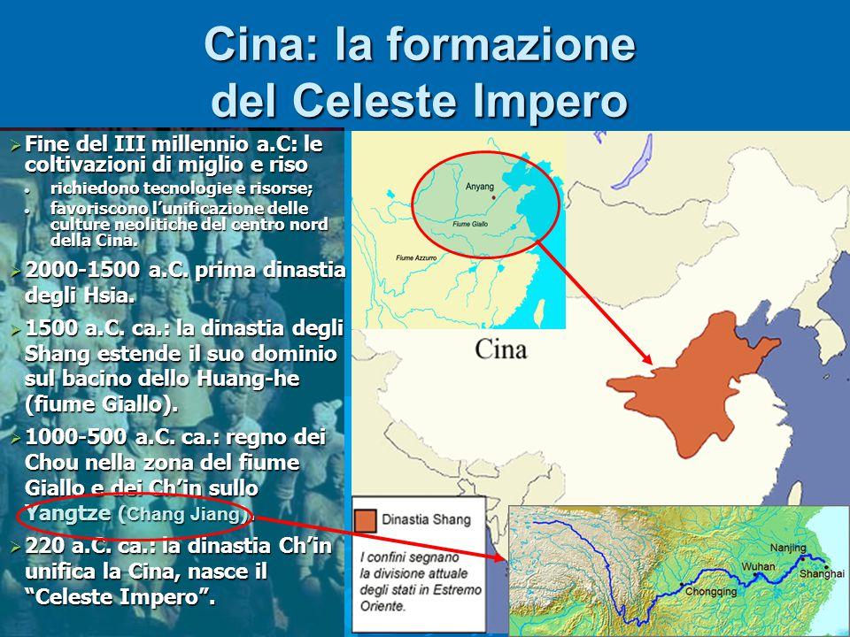 Cina: la formazione del Celeste Impero  Fine del III millennio a.C: le coltivazioni di miglio e riso richiedono tecnologie e risorse; richiedono tecnologie e risorse; favoriscono l'unificazione delle culture neolitiche del centro nord della Cina.
