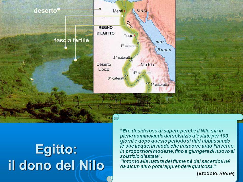 Egitto: il dono del Nilo Ero desideroso di sapere perché il Nilo sia in piena cominciando dal solstizio d'estate per 100 giorni e dopo questo periodo si ritiri abbassando le sue acque, in modo che trascorre tutto l'inverno in proporzioni modeste, fino a giungere di nuovo al solstizio d'estate .