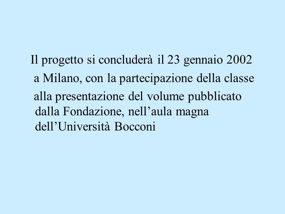 Il progetto si concluderà il 23 gennaio 2002 a Milano, con la partecipazione della classe alla presentazione del volume pubblicato dalla Fondazione, n
