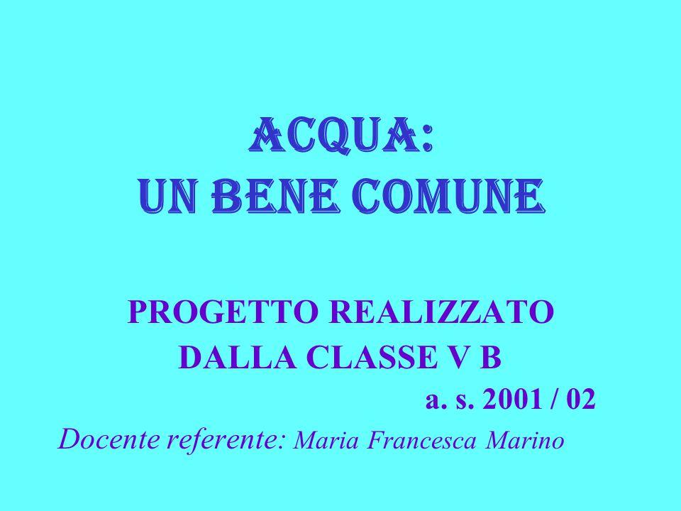 ACQUA: UN BENE COMUNE PROGETTO REALIZZATO DALLA CLASSE V B a. s. 2001 / 02 Docente referente: Maria Francesca Marino