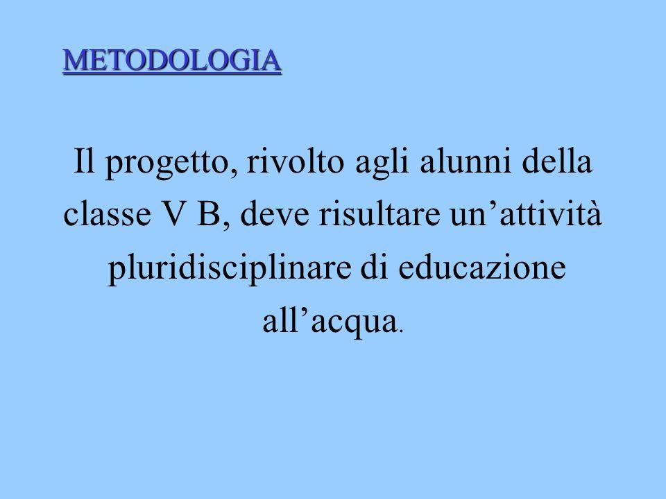 METODOLOGIA Il progetto, rivolto agli alunni della classe V B, deve risultare un'attività pluridisciplinare di educazione all'acqua.