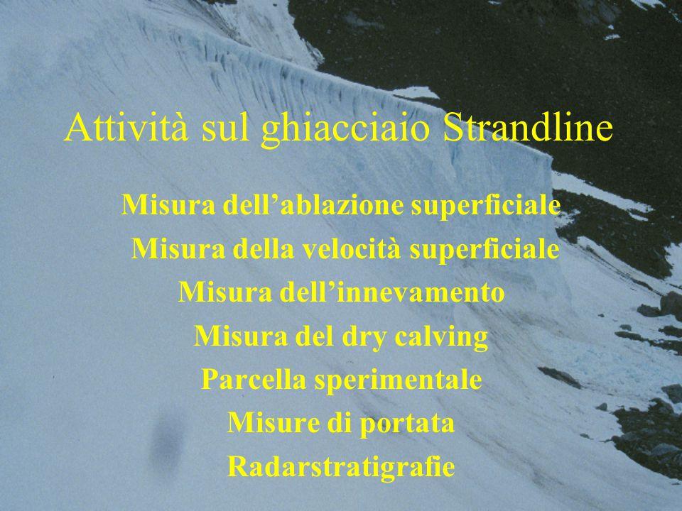 Attività sul ghiacciaio Strandline Misura dell'ablazione superficiale Misura della velocità superficiale Misura dell'innevamento Misura del dry calving Parcella sperimentale Misure di portata Radarstratigrafie