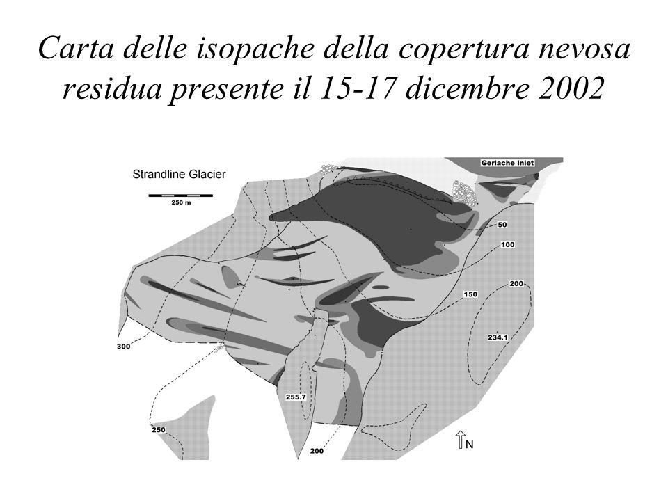 Carta delle isopache della copertura nevosa residua presente il 15-17 dicembre 2002