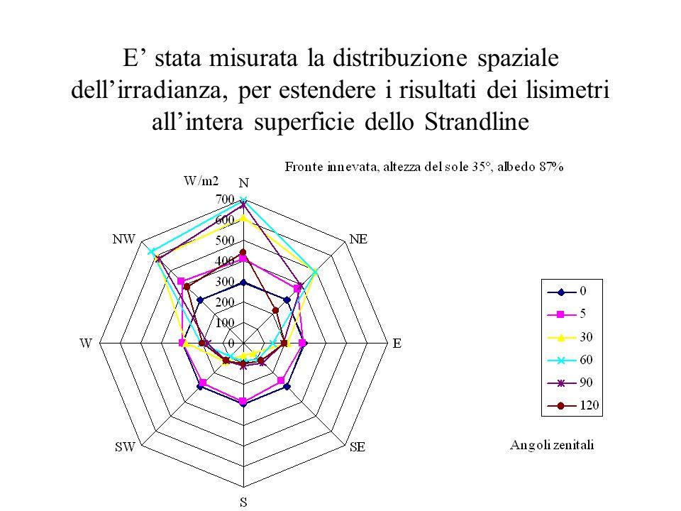 E' stata misurata la distribuzione spaziale dell'irradianza, per estendere i risultati dei lisimetri all'intera superficie dello Strandline