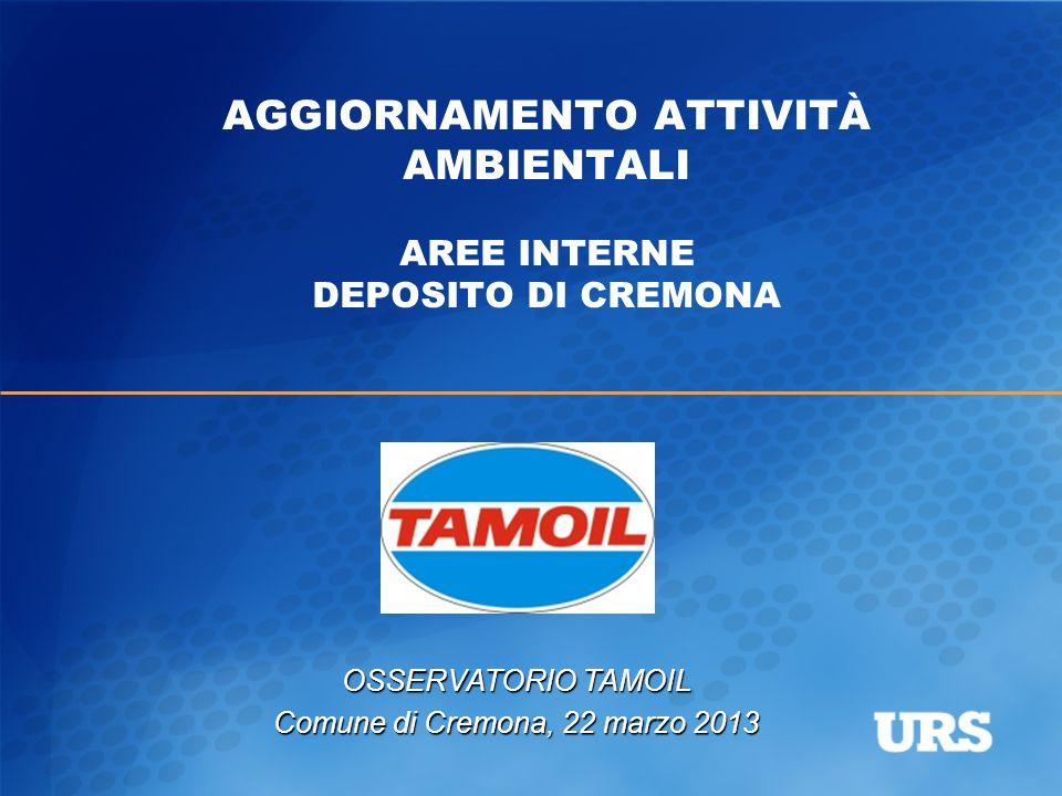 AGGIORNAMENTO ATTIVITÀ AMBIENTALI AREE INTERNE DEPOSITO DI CREMONA OSSERVATORIO TAMOIL Comune di Cremona, 22 marzo 2013