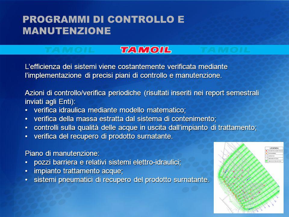 L'efficienza dei sistemi viene costantemente verificata mediante l'implementazione di precisi piani di controllo e manutenzione. Azioni di controllo/v
