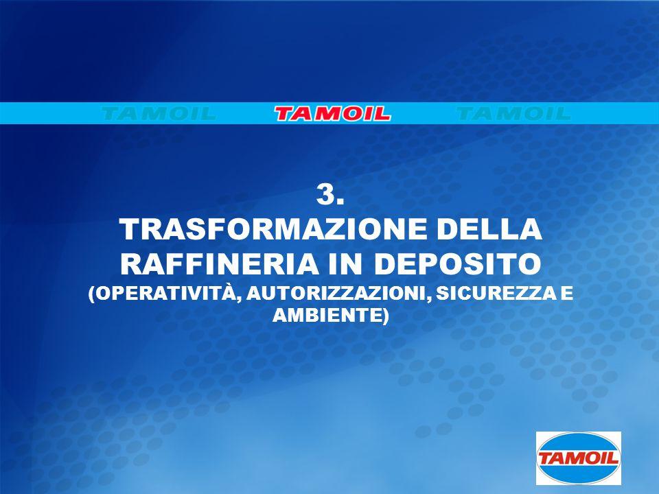 3. TRASFORMAZIONE DELLA RAFFINERIA IN DEPOSITO (OPERATIVITÀ, AUTORIZZAZIONI, SICUREZZA E AMBIENTE)