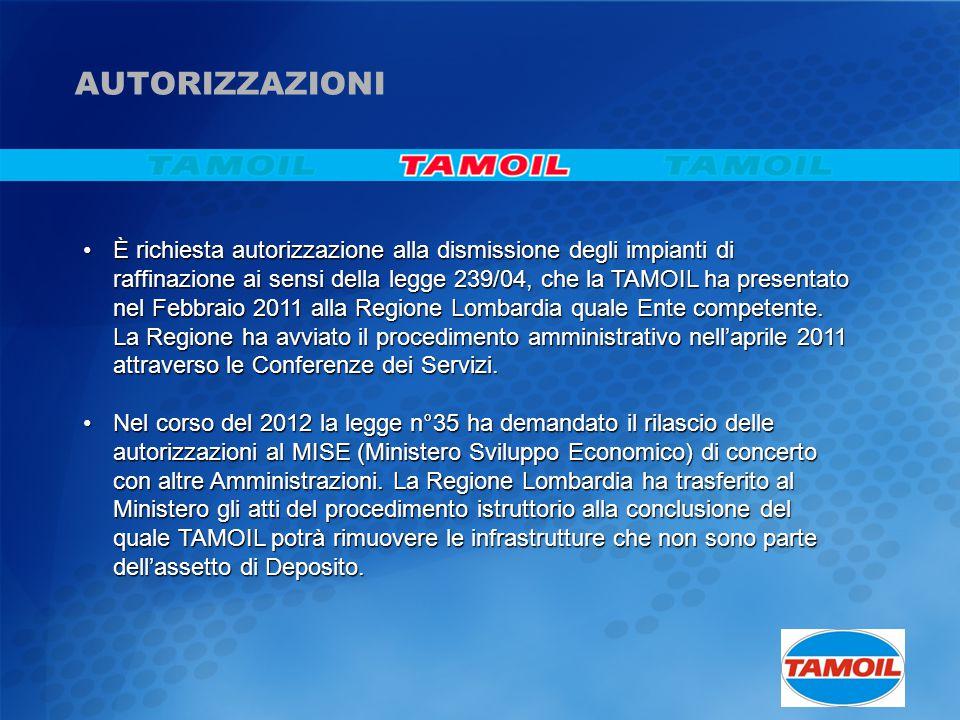 È richiesta autorizzazione alla dismissione degli impianti di raffinazione ai sensi della legge 239/04, che la TAMOIL ha presentato nel Febbraio 2011