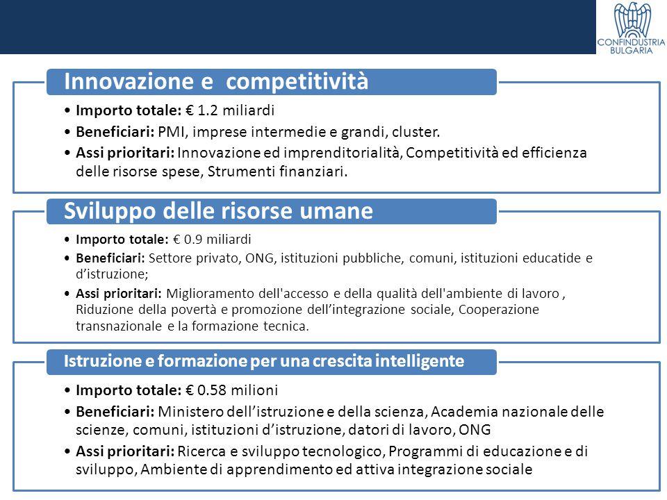 Importo totale: € 1.2 miliardi Beneficiari: PMI, imprese intermedie e grandi, cluster. Assi prioritari: Innovazione ed imprenditorialità, Competitivit