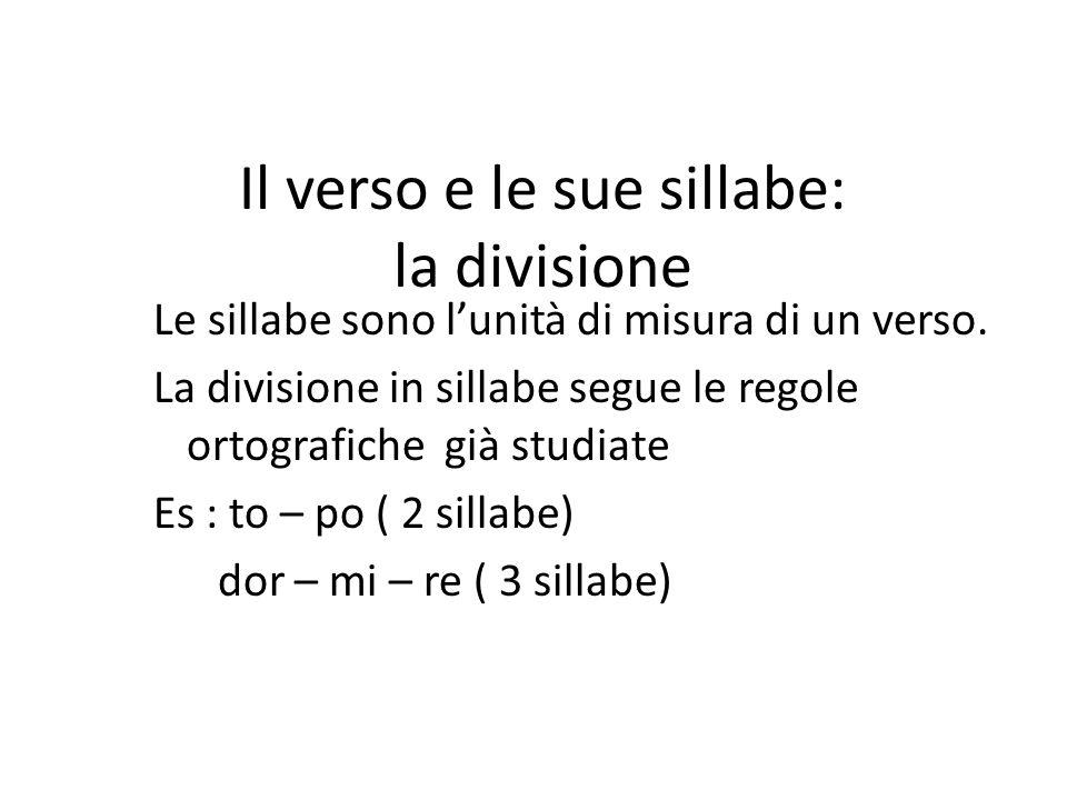Il verso e le sue sillabe: la divisione Le sillabe sono l'unità di misura di un verso.