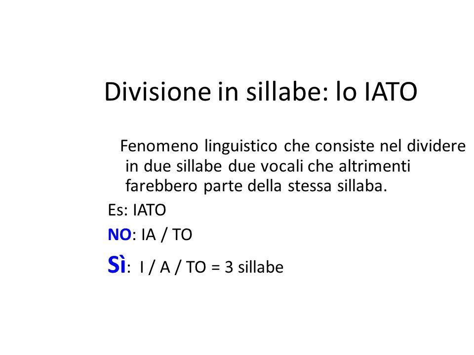 Divisione in sillabe: lo IATO Fenomeno linguistico che consiste nel dividere in due sillabe due vocali che altrimenti farebbero parte della stessa sillaba.