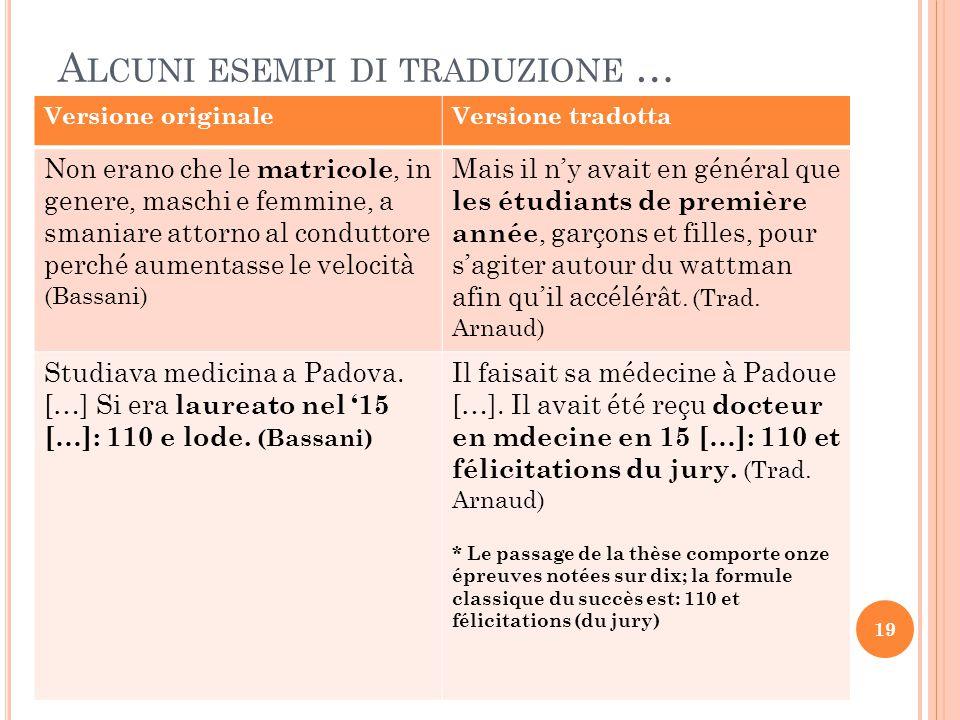 A LCUNI ESEMPI DI TRADUZIONE … Versione originaleVersione tradotta Non erano che le matricole, in genere, maschi e femmine, a smaniare attorno al cond