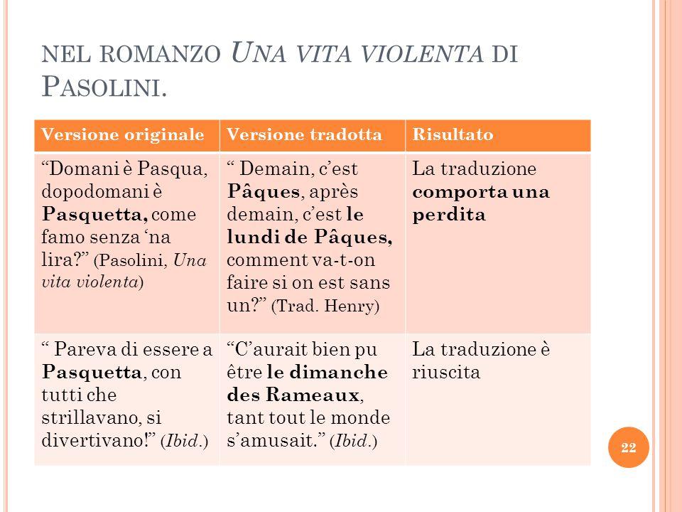 """NEL ROMANZO U NA VITA VIOLENTA DI P ASOLINI. Versione originaleVersione tradottaRisultato """"Domani è Pasqua, dopodomani è Pasquetta, come famo senza 'n"""