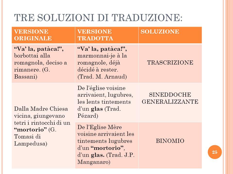 """TRE SOLUZIONI DI TRADUZIONE: VERSIONE ORIGINALE VERSIONE TRADOTTA SOLUZIONE """"Va' la, patàca!"""", borbottai alla romagnola, deciso a rimanere. (G. Bassan"""