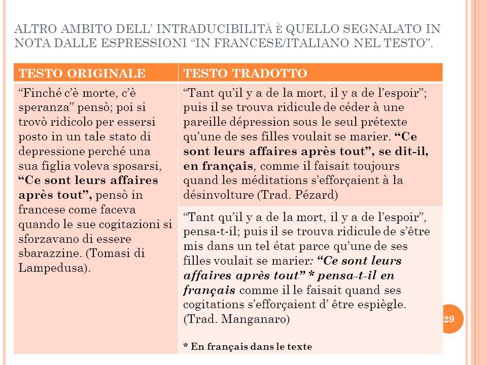 """ALTRO AMBITO DELL' INTRADUCIBILIT À È QUELLO SEGNALATO IN NOTA DALLE ESPRESSIONI """"IN FRANCESE/ITALIANO NEL TESTO"""". TESTO ORIGINALETESTO TRADOTTO """"Finc"""