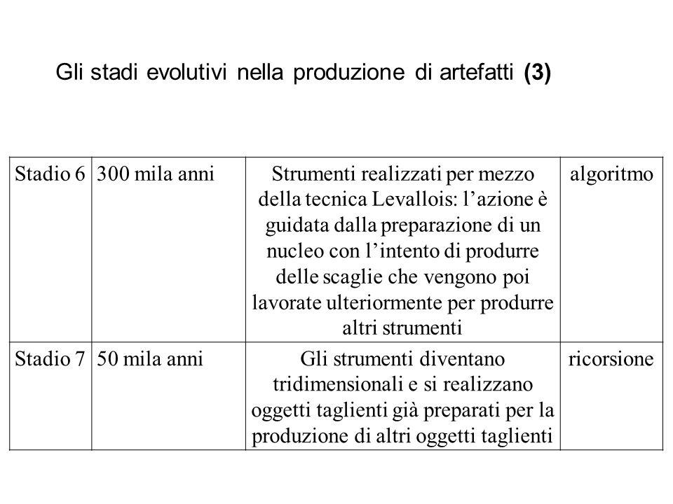 Gli stadi evolutivi nella produzione di artefatti (3) Stadio 6300 mila anniStrumenti realizzati per mezzo della tecnica Levallois: l'azione è guidata
