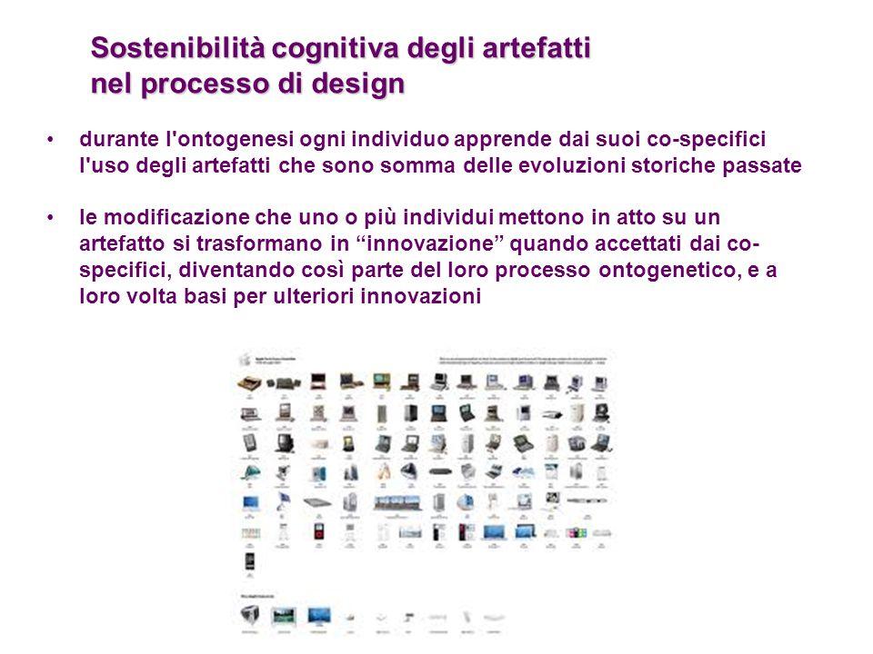 Sostenibilità cognitiva degli artefatti nel processo di design durante l'ontogenesi ogni individuo apprende dai suoi co-specifici l'uso degli artefatt