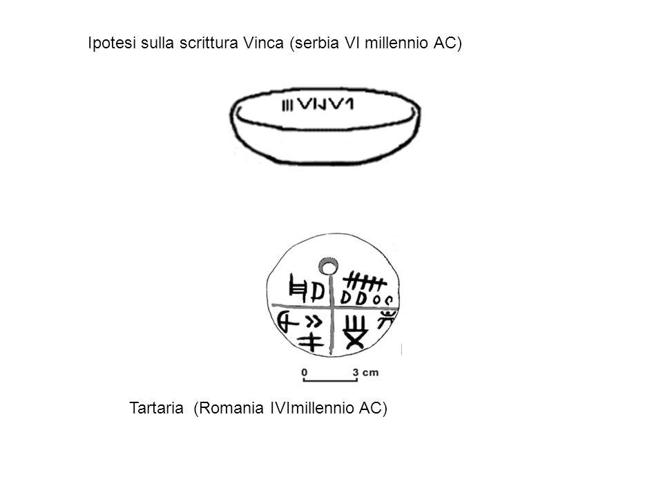 Ipotesi sulla scrittura Vinca (serbia VI millennio AC) Tartaria (Romania IVImillennio AC)