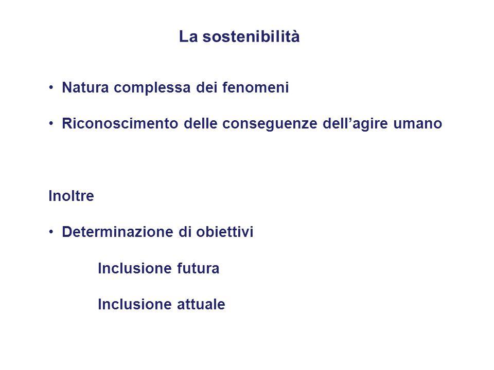 La sostenibilità Natura complessa dei fenomeni Riconoscimento delle conseguenze dell'agire umano Inoltre Determinazione di obiettivi Inclusione futura