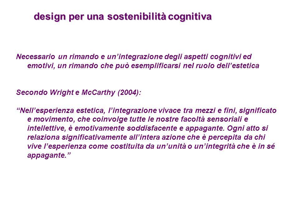 design per una sostenibilità cognitiva design per una sostenibilità cognitiva Necessario un rimando e un'integrazione degli aspetti cognitivi ed emoti