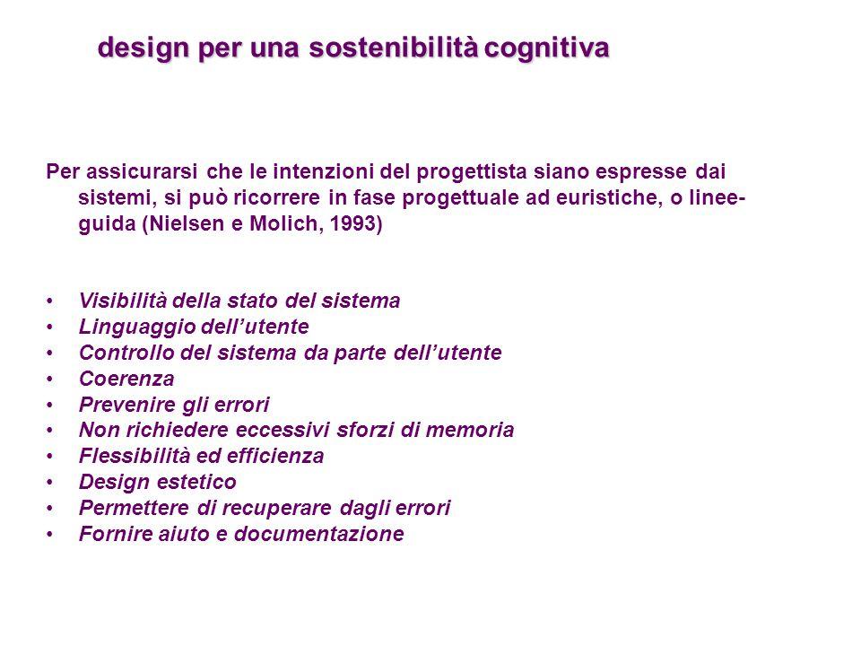 design per una sostenibilità cognitiva design per una sostenibilità cognitiva Per assicurarsi che le intenzioni del progettista siano espresse dai sis