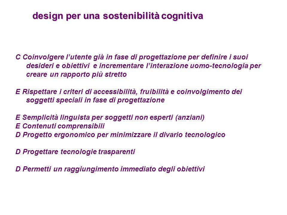 design per una sostenibilità cognitiva design per una sostenibilità cognitiva C Coinvolgere l'utente già in fase di progettazione per definire i suoi