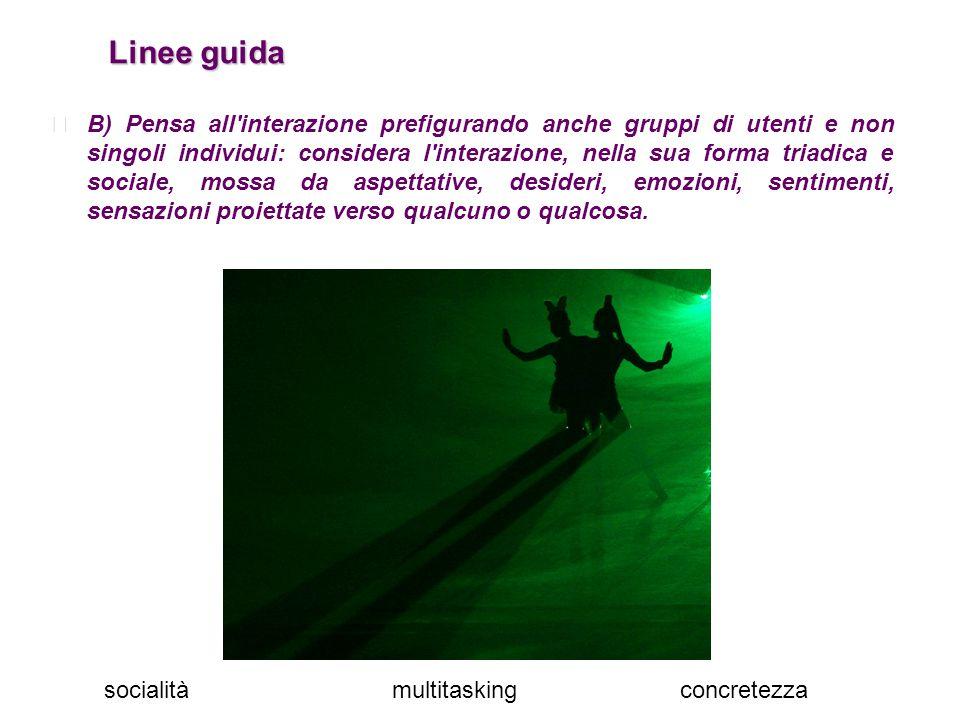 Linee guida Linee guida B) Pensa all'interazione prefigurando anche gruppi di utenti e non singoli individui: considera l'interazione, nella sua forma