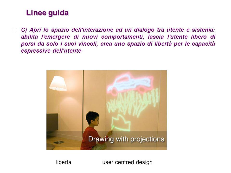 Linee guida Linee guida C) Apri lo spazio dell'interazione ad un dialogo tra utente e sistema: abilita l'emergere di nuovi comportamenti, lascia l'ute