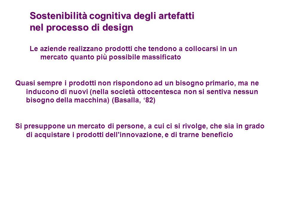 Sostenibilità cognitiva degli artefatti nel processo di design Le aziende realizzano prodotti che tendono a collocarsi in un mercato quanto più possib
