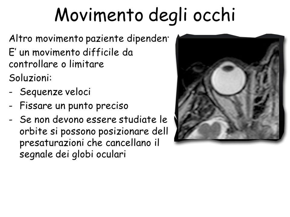 Movimento degli occhi Altro movimento paziente dipendente E' un movimento difficile da controllare o limitare Soluzioni: -Sequenze veloci -Fissare un punto preciso -Se non devono essere studiate le orbite si possono posizionare delle presaturazioni che cancellano il segnale dei globi oculari