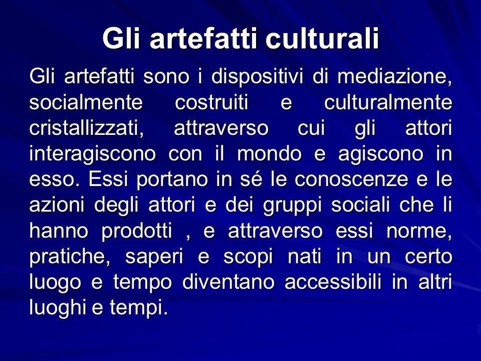 Gli artefatti culturali Gli artefatti sono i dispositivi di mediazione, socialmente costruiti e culturalmente cristallizzati, attraverso cui gli attor